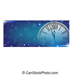 Vector 2019 Happy New Year with retro clock on snowflakes blue background