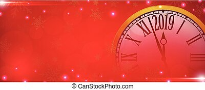 Vector 2019 Happy New Year with retro clock on snowflakes red background