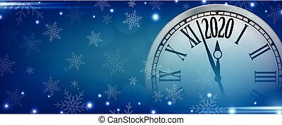 Vector 2020 Happy New Year with retro clock on snowflakes blue background