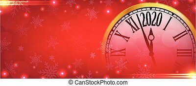 Vector 2020 Happy New Year with retro clock on snowflakes red background