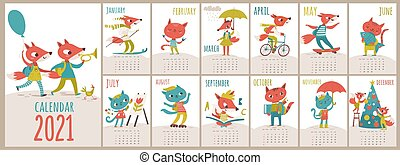 Cat and fox kids style cartoon vector 2021 calendar. Letter size calendar with funny foxes and cats characters. Nice decoration for kids children room. Different life situations.