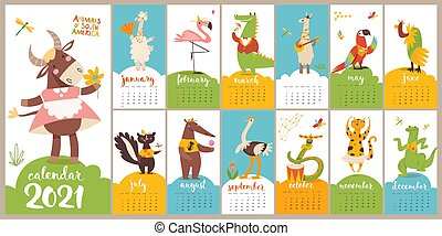Cartoon vector 2021 calendar with funny wild animals characters doing different activities. Letter size format. Kids room decoration.