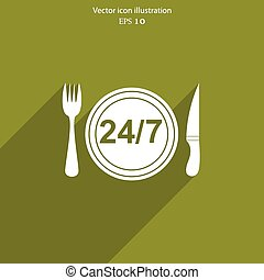 Vector 24 hour delivery food service.