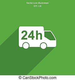 Vector 24 hour delivery web icon.