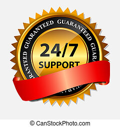 Vector 24/7 SUPPORT gold sign, label template