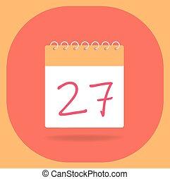 vector, 27., fecha calendario, illustration.