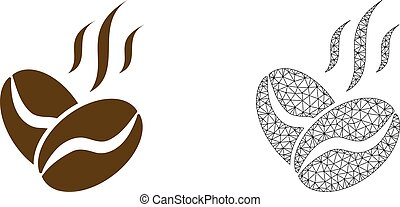 Vector 2D Mesh Coffee Beans Aroma and Flat Icon