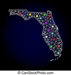 Vector 2D Mesh Map of Florida State with Light Spots for New Year