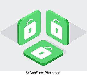 vector, 3, isometric, moderne, iconen, app