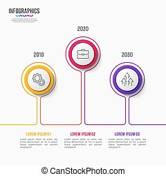 Vector 3 steps infographic design, timeline chart
