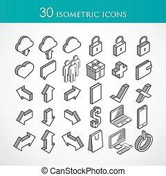 vector, 30, isometric, set, iconen