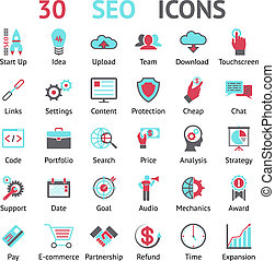 vector 30 SEO icons - vector 30 assorted SEO icons in red...