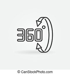 Vector 360 degrees linear icon. Rotation outline symbol