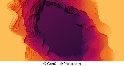 Vector 3D abstract background with paper cut shapes. Colorful carving art. Paper craft landscape with gradient fade colors. Minimalistic design layout for business presentations, flyers, posters.