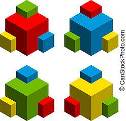 vector 3d abstract cubes