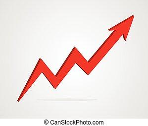 Vector 3d arrow business graph illustration.