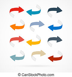 Vector 3d Arrows Set Isolated on White Background