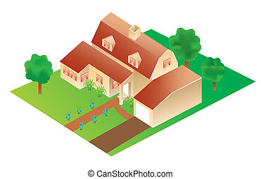 vector 3d big house with garden