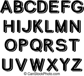 Vector 3D black font alphabet - simple capital letters