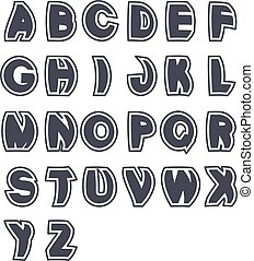Vector 3D black font alphabet - simple capital letters. Funny font, plain line with border.