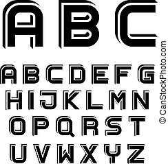 vector 3D black simple font