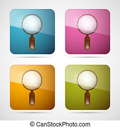 Vector 3d Blue, Pink, Orange and Green Magnifying Glass Square Icons Set