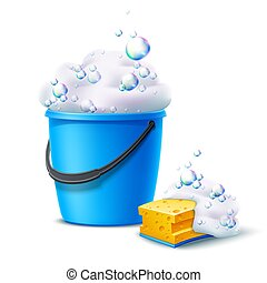 Vector 3d bucket and sponge with soapy bubbles