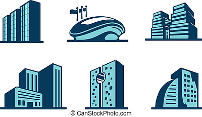Vector 3d building icons set with six different modern...