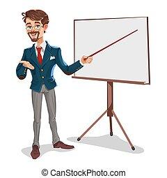 Vector 3d businessman in a presentation