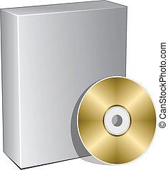 vector, 3d, caja, con, disco compacto