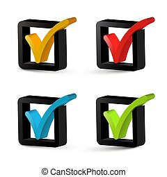 Vector 3D Check Mark - Tick Icons Set Isolated