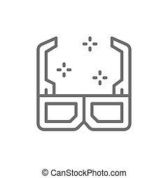 3D cinema glasses line icon.