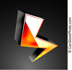 Vector 3d color lightning icon