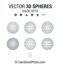 vector, 3d, conjunto, aviador, geométrico, esfera, folleto, shapes., illustration.