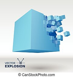 Vector 3D cube explosion with cubical particles - Vector 3D...