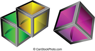 Vector 3d cubes - Vector 3d colorful glass cubes with ...