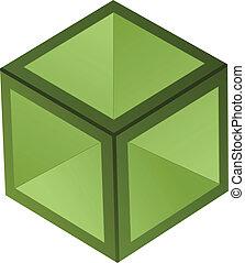 vector, 3d, cubo