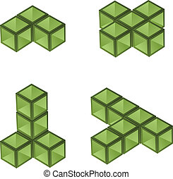 vector, 3d, cubos