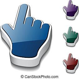 vector, 3d, cursores, mano