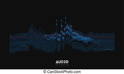 Vector 3d echo audio wavefrom spectrum. Abstract music waves oscillation graph. Futuristic sound wave visualization. Glowing oscillation pattern. Synthetic music technology sample.