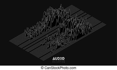 Vector 3d echo audio wavefrom spectrum. Abstract music waves oscillation graph. Futuristic sound wave visualization. Isometric impulse pattern. Synthetic music technology sample.