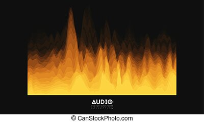 Vector 3d echo audio wavefrom spectrum. Abstract music waves oscillation graph. Futuristic sound wave visualization. Orange glowing impulse pattern. Synthetic music technology sample.