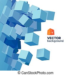 Vector 3D explosion background with cubical particles