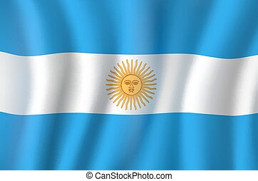 Vector 3D flag of Argentina national symbol