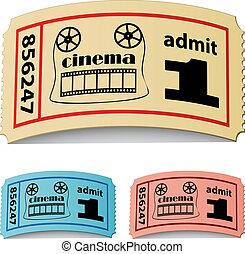 vector, 3d, gekrulde, bioscoop, kaartjes