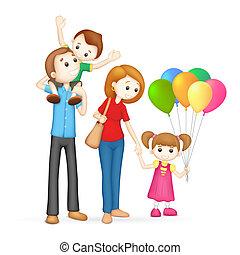 vector, 3d, gezin, vrolijke