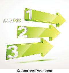 3d green nubered arrows illustration