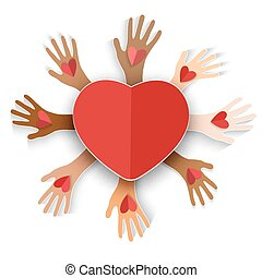 Vector 3d heart on the multicolored hands holding red heart.