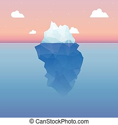 Vector 3d iceberg illustration concept. Success, clean blue...
