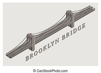 vector 3d illustrated brooklyn bridge manhattan new york
